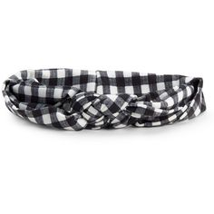 Aeropostale Monochrome Plaid Knot Headband ($3.99) ❤ liked on Polyvore featuring accessories, hair accessories, black, hair band headband, head wrap hair accessories, braided hairband, headband hair accessories and woven headbands
