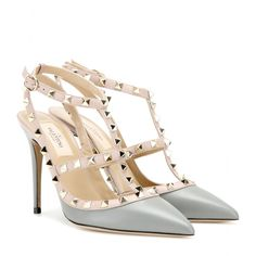 Valentino - Rockstud leather pumps - Valentino's 'Rockstud' pumps are equal parts elegant and edgy. Coated in smooth dove-grey leather, this studded pair work for days and evenings alike. Wear with distressed denim to dress up an off-duty look. seen @ www.mytheresa.com