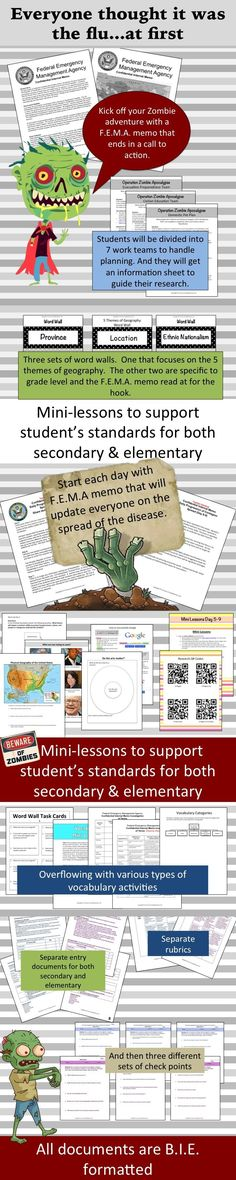 Zombie virus has been reported in Kazakhstan! Your students will be given a fictitious FEMA memo to read. It details the beginnings of a contagion that has the ability to destroy the populations world wide. Your students must plan how to save us.