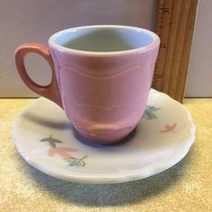 Shenango China Demitasse Pink Demi Cup White Saucer Leaf Pattern Sho93 USA #ShenangoChina