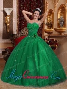 Classic Quinceanera Gowns In Green Ball Gown Sweetheart Floor-length Tulle Beading