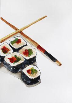 ORIGINAL Watercolor Painting Sushi Watercolor Food Painting Kitchen art Home…