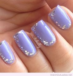 Lovely light purple nail polish with some glitter
