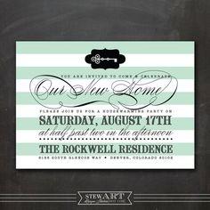 Personalized HOUSEWARMING PARTY INVITATION by stewartdesignstudios, $25.00