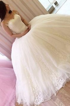 Classic Bateau Sleeveless Ball Gown Wedding Dress with Beading Lace, wedding dresses,@tidetell