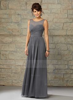 A-Line/Princess Scoop Neck Floor-Length Ruffle Chiffon Zipper Up Covered Button Regular Straps Sleeveless No Other Colors Spring Summer Fall General Silver Bridesmaid Dress