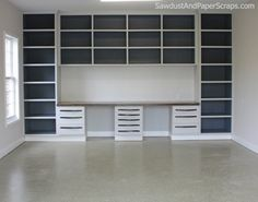 Garage Workshop with Wood Countertop and Painted Cabinets