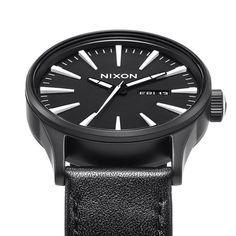 Sentry Leather - Nixon watch - Black and White - Stainless Steel Case - For  him