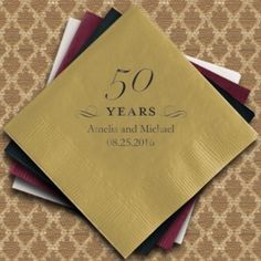 These napkins come in 25 colors and can be personalized, and they'd make a great addition to your 50th anniversary party!