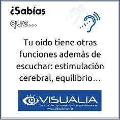 ¿Sabías que tu oído tiene otras funciones además de escuchar? #Optometría #TerapiaVisual #Aprendizaje #Visualia 👉 http://www.visualia-coc.es/