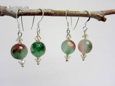 green and red agate earrings - christmas earrings - swarovski crystal - sterling silver ear hooks - handmade by RockinLola