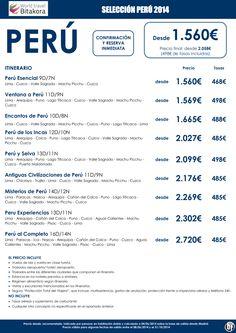 PERU: Seleccion de Circuitos desde 1.560€ + tasas ultimo minuto - http://zocotours.com/peru-seleccion-de-circuitos-desde-1-560e-tasas-ultimo-minuto/