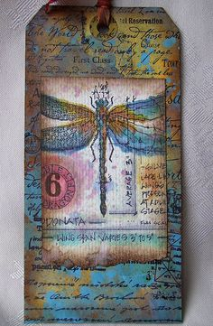 June tag -- tim's watercolor distress with ink, paint and stain