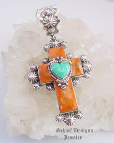 Gary G Apple Coral Turquoise & Sterling Silver Rosette Cross Heart Pendant   Schaef Designs New Mexico