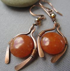 Copper Wire Earrings with Orange Quartzite/ Copper Dangle por mese9, $27.00