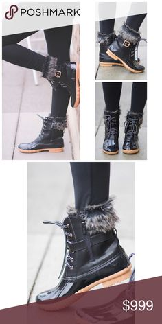 """❗️JUST RESTOCKED❗️ Black Fur Duck Boot Sz 5.5-10 Black fur duck boots, lace up style , fully waterproof, inside partial zipper for easy on/off, faux leather and rubber exterior, buckle accent, 1/2"""" heel, runs true to size .  Available in size  5.5, 6, 6.5, 7, 7.5, 8, 8.5, 9, and 10.  No trades, price firm unless bundled.  BUNDLE 3 OR MORE ITEMS FOR 15% OFF!! Boutique Shoes Winter & Rain Boots"""