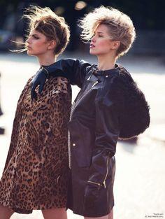 paris vogue, leopard, leather, models off duty
