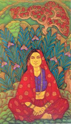 A Ramachandran, 'Shanti of Pai village,' , Vadehra Art Gallery Famous Artists Paintings, Paintings I Love, Indian Paintings, Indian Folk Art, Indian Artist, Indian Arts And Crafts, Online Painting, Paintings Online, India Art