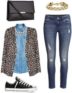 Leopard coat, denim shirt, destroyed skinnies, and converse Blazer Outfits, Sweater Outfits, Work Outfits, Cute Outfits, Red Converse Outfit, Red Shoes Outfit, Leopard Coat, Leopard Sweater, Denim Coat