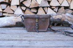 RARE Swiss Army Leather Bag from Brown Leather Bag of the Swiss Military