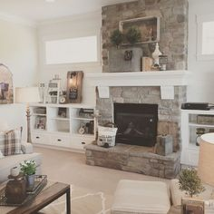 White plank walls surround this stone fireplace for a fresh, modern farmhouse lo. - White plank walls surround this stone fireplace for a fresh, modern farmhouse look. Farmhouse Fireplace Mantels, Cozy Fireplace, Fireplace Remodel, Fireplace Surrounds, Fireplace Design, Fireplace Ideas, Fireplace Stone, Airstone Fireplace, Stone Mantel