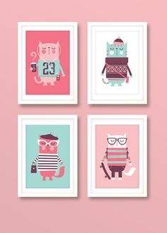 Nursery art girl girls print set hipster cats by BubbleGumYears