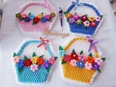 Sepet Lif Modelim - YouTube Crochet Art, Crochet Motif, Crochet Dolls, Crochet Flowers, Fabric Flowers, Crochet Patterns, Crochet For Beginners, Bargello, Washing Clothes
