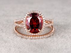 2pcs 8x10mm Natural Garnet Bridal Ring Set,Engagement ring,14k Rose gold,Diamond wedding band,Claw prongs,Oval Stone,Gemstone Promise Ring by popRing on Etsy