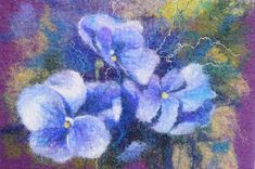 Felted wall hanging picture tapestry Blue pansy OOAK door Renefelt