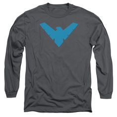 DC Comics Nightwing Symbol Adult Long Sleeve Tee - Charcoal