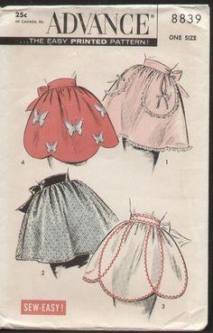 Vintage 1950s Apron Pattern Advance 8839 Scallop Half Apron Butterfly applique | eBay
