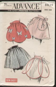 Vintage 1950s Apron Pattern Advance 8839 Scallop Half Apron Butterfly applique | eBay