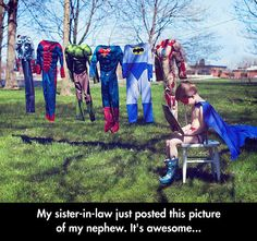 Laundry day is tough for superheroes who only have one outfit...