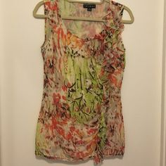 Tribal Multi colored tank top Great condition slips on slight ruffle around the collar and down one side of the front Tribal Tops Tank Tops