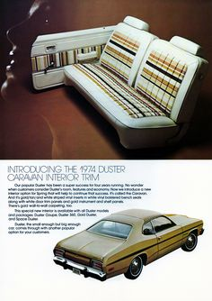1974 Plymouth Duster Caravan Interior Trim  My gramma had a car like this when I was very young..