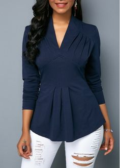 821b6f69306ed9 V Neck Long Sleeve Navy Blue Blouse on sale only US 24.31 now