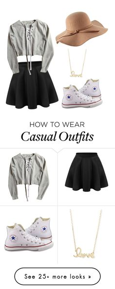 """""""cute and casual!!!"""" by ryleigh15112004 on Polyvore featuring Converse and Sydney Evan"""