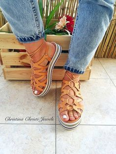 Tie up Gladiator Sandals Leather Sandals by ChristinaChristiJls