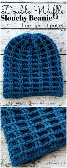 It may still not be too late to crochet a really nice Beanie (with Waffle Stitch pattern) for the beginning of the year! Crochet Beanie Hat Free Pattern, Bonnet Crochet, Bag Crochet, Crochet Gratis, Crochet Cap, Crochet Motifs, Easy Crochet Patterns, Crochet Designs, Crochet Stitches