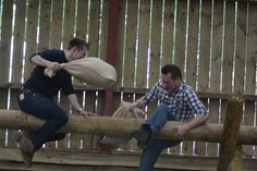 """The Greasy Pole is a """"gladiator"""" style activity, testing prowess, but also an ability to challenge a colleague while looking them in the eyes! Corporate Team Building Activities, Party Activities, Hilarious, Funny, Outdoor Fun, Farmer, Challenge, Adventure, Eyes"""