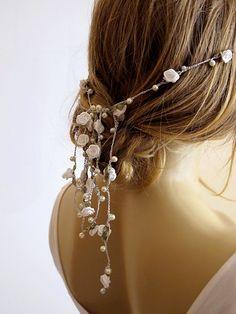 wedding boho headband pearl and rose headband Bridal by selenayy