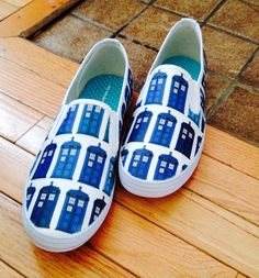 Doctor Who Tardis Vans style shoes. on Etsy, $80.00