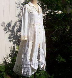Shabby Chic Linen and Antique Lace Top/Coat Recycled by Revamp