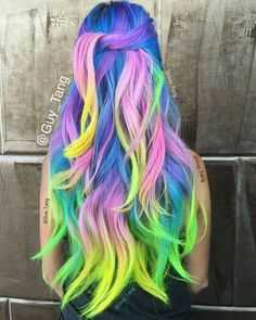 Purple green pink neon dyed rainbow hair color