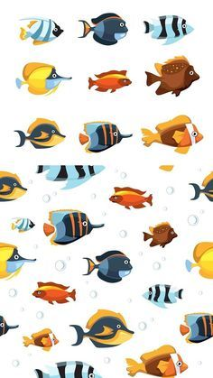 Cute cartoon fish icons and pattern. Pattern Vectors.  7.00 86ee68e78358