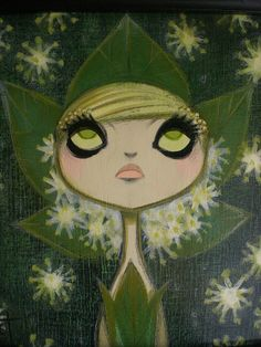 """Moonseed"" original painting by Krista Huot (detail)"