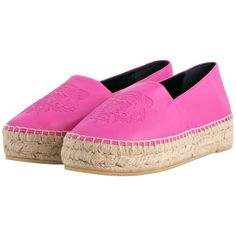 Kenzo Fuschia Leather Tiger Espadrilles ($245) ❤ liked on Polyvore featuring shoes, sandals, leather espadrilles, kenzo, kenzo shoes, fuchsia sandals and fuchsia shoes