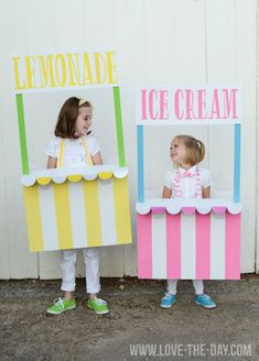 DIY Costume Ideas for Kids:: Lemonade and Ice Cream Stands! These kids Halloween costumes are after our hearts! Easy Diy Costumes, Halloween Costumes For Kids, Halloween Diy, Costume Ideas, Ice Cream Costume, Diy For Kids, Crafts For Kids, Diy Crafts, Ice Cream Stand