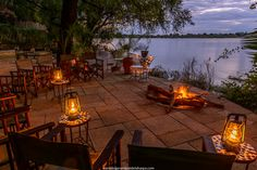 Tongabezi Lodge in Livingstone, Zambia. What and Ideal spot for sundowners. Zambezi River in the background. Game Lodge, Private Games, Game Reserve, Lodges, Safari, Tourism, Livingstone, Patio, Stock Photos