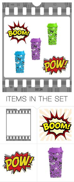 Boom! Pow! Colorful Travel Mugs by farrellart on Polyvore featuring art
